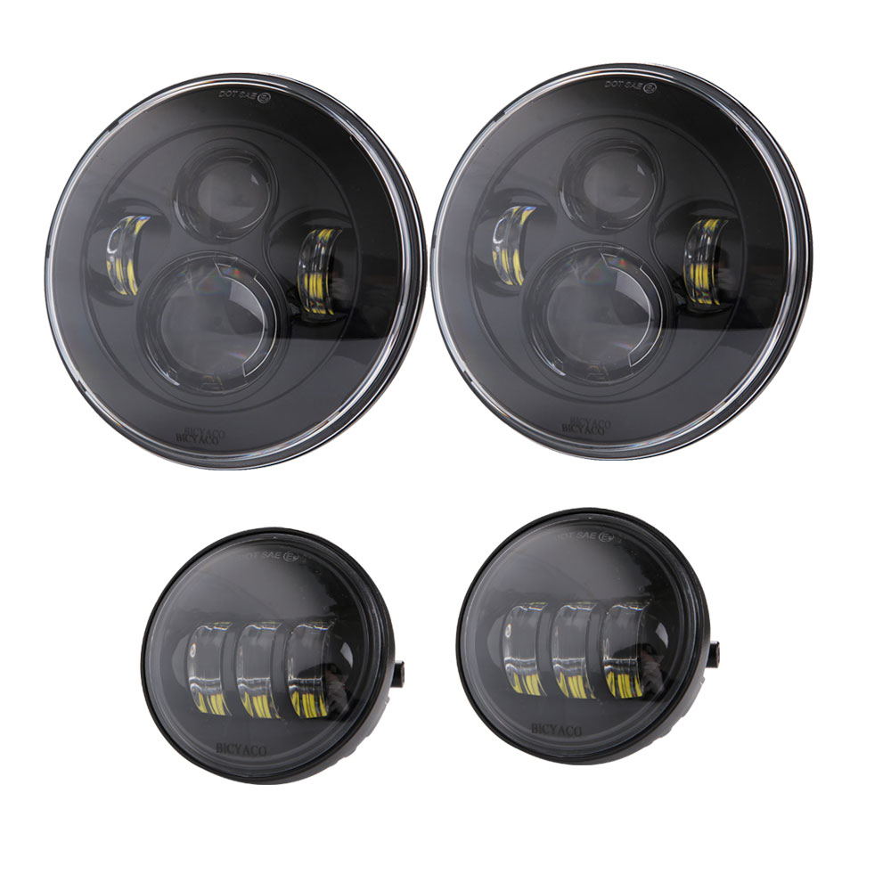 DOT Approved 90W 7inch Jeep Daymaker LED Headlights + 30W 4 ... on