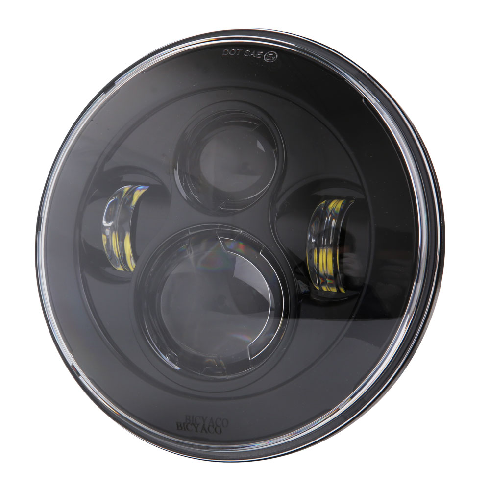 7 LED Headlight For Harley Davidson Motorcycle Projector HID LED Light Bulb Headlamp Black